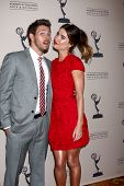 LOS ANGELES - JUN 13:  Scott Clifton, Jacqueline MacInnes Wood arrives at the Daytime Emmy Nominees