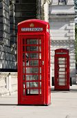 picture of phone-booth  - two red phone boxes old style in London in row  - JPG