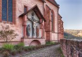 image of carmelite  - Carmelite Monastery Church of ancient town village of Hirschhorn in Hesse district of Germany on banks of Neckar river - JPG