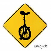 stock photo of unicycle  - yellow warning road sign with a unicycle - JPG