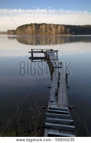 Wooden Bridge On The River