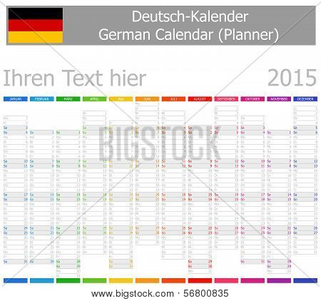 2015 German Planner-2 Calendar with Vertical Months