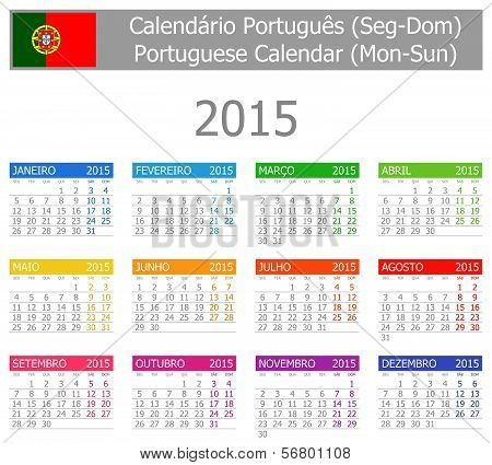 2015 Portuguese Type-1 Calendar Mon-Sun