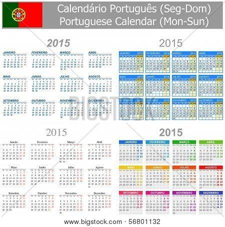 2015 Portuguese Mix Calendar Mon-Sun