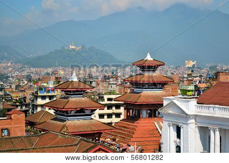 Durbar Square with Swayambhu in the background