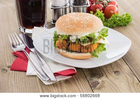 Fish Burger With Cold Drink