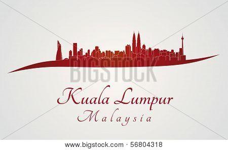 Kuala Lumpur Skyline In Red