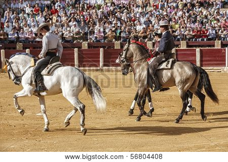 Spanish Bullfighters On Horseback Leonardo Hernandez, Fermin Bohorquez And Joao Moura At The Paseill
