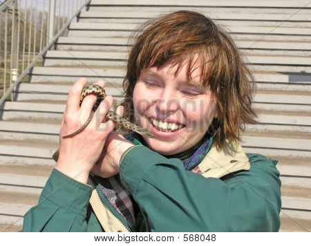 Snake In Lady's handen