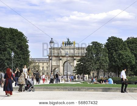 PARIS,FRANCE-AUGUST 16-Arc de Triomphe du Carrousel in Paris