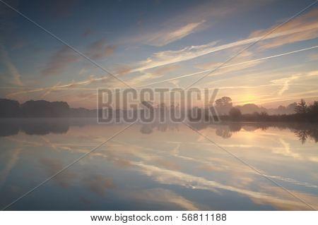 Misty Sunrise On Wild Lake