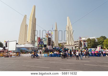 The Thai Protest Against The Government At Democracy Monument