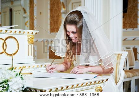 Bride Signs On Solemn Registration Of Marriage