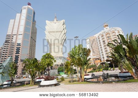 MACAU, CHINA - NOVEMBER 2, 2012: Bank of China, Grand Lisboa Casino and Lisboa Casino in the modern part the city. Macau is the gambling capital of Asia and is visited by about 29 million people year.
