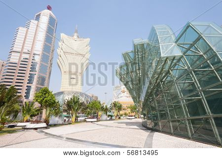 MACAU, CHINA - NOVEMBER 2, 2012: Bank of China, Grand Lisboa Casino in the modern part the city. Macau is the gambling capital of Asia and is visited by about 29 million people year.