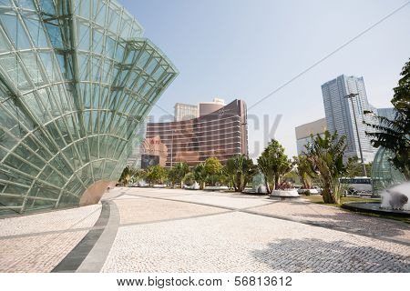 MACAU, CHINA - NOVEMBER 2, 2012: Wynn Casino and Illuminated glass installation in the modern area of Macau. Macau is the gambling capital of Asia and is visited by about 29 million tourists year.