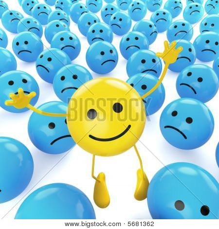 Yellow Jumping Smiley Between Sad Blues