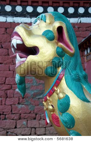 Buddhist Lion At The Gate Of Tengboche Monastery, Nepal