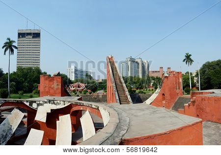 Jantar Mantar Panorama - One Of 5 Medieval Observatories In India,located In Delhi,uttar Pradesh