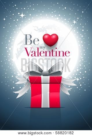 Full moon night, gift box and Valentine's Day message with red heart. Vector illustration. Elements are layered in vector file. Easy editable.