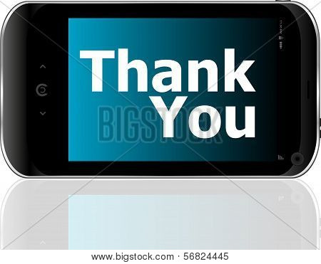 Smart Phone With Thank You Word