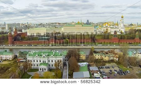 MOSCOW - OCT 26: View from unmanned quadrocopter to cityscape with Cathedral of the Dormition and Kremlin near the Moscow River on October 26, 2013 in Moscow, Russia.
