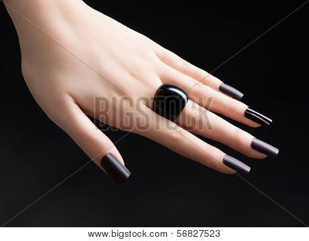 Manicured Nail with Black Matte Nail Polish. Fashion Manicure. Long ...