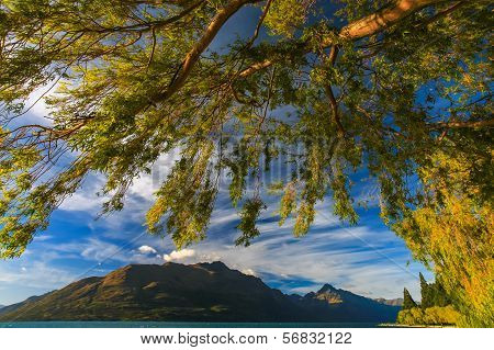 Beautiful Lake Wakatipu Against Blue Sky