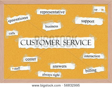 Customer Service Corkboard Word Concept