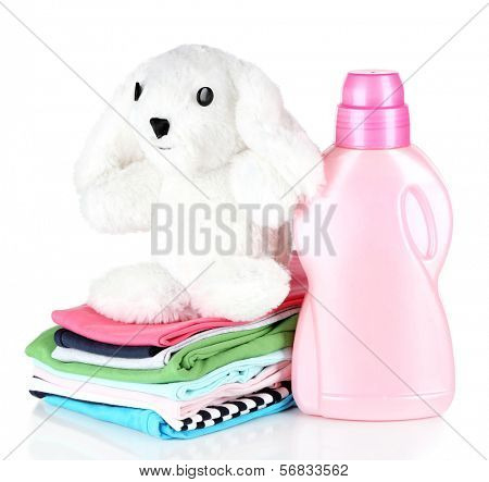 Softener dryer and children clothes isolated on white