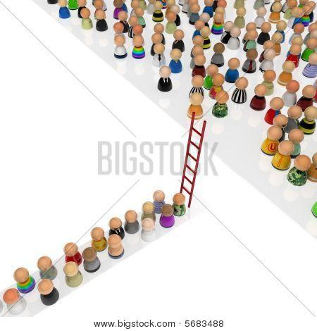 Cartoon Crowd, Red Ladder