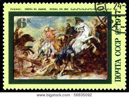 Vintage  Postage Stamp.  Lion Hunt By Rubens.