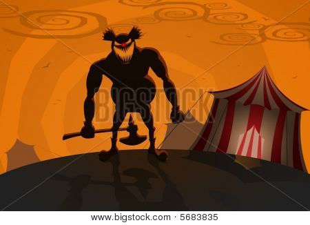 Vector evil clown with circus on background