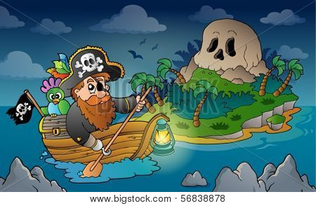 Theme with pirate skull island 3 - eps10 vector illustration.