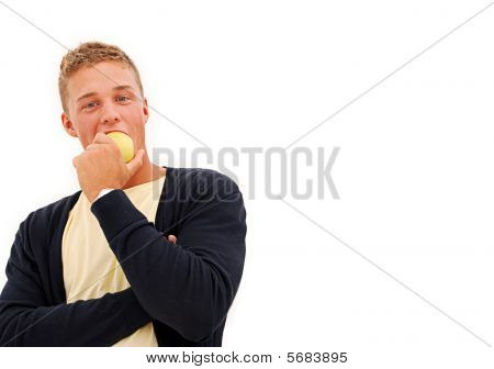Young Man Eats Apple