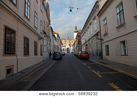 ZAGREB, CROATIA - JANUARY 12, 2014: Cirilometodska street that leads to famous  St Mark�¢??s Church, a three-aisled Romanesque church which still retains much of its original shape.
