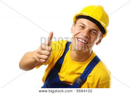 Worker Showing Thumb Up Sign