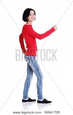 Side view of walking beautiful woman, isolated on white