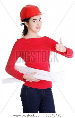 Young female architect/construct ion engineer  gesturing OK
