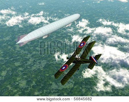 Airship and Biplane