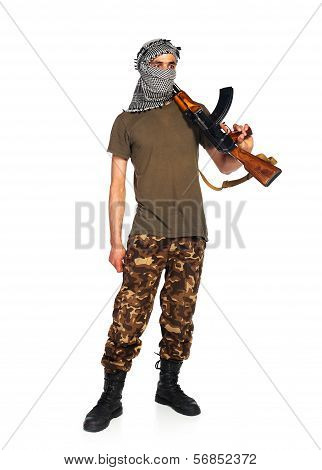 Arab Nationality In Camouflage Suit And Keffiyeh With Automatic Gun On White Background