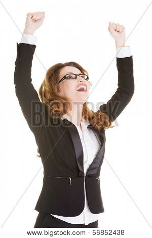 Success, winner businesswoman with fists up, isolated on white.