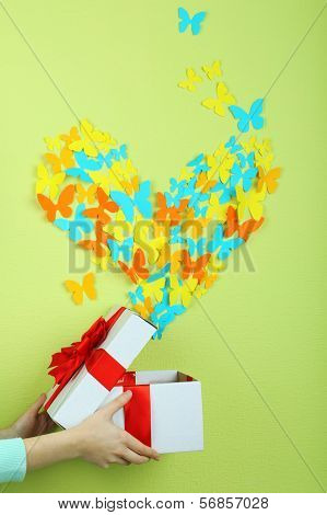 Paper butterflies fly out of box on green wall background