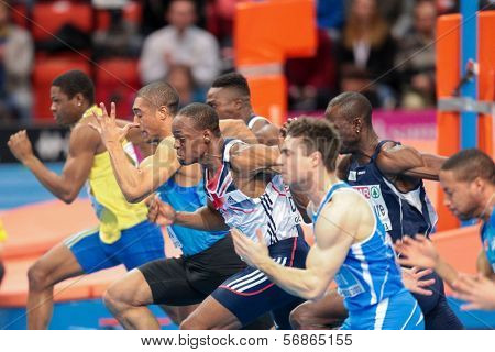 GOTHENBURG, SWEDEN - MARCH 2 James Dasaolu (Great Brtain) places 2nd in the men's 60m finals during the European Athletics Indoor Championship on March 2, 2013 in Gothenburg, Sweden.