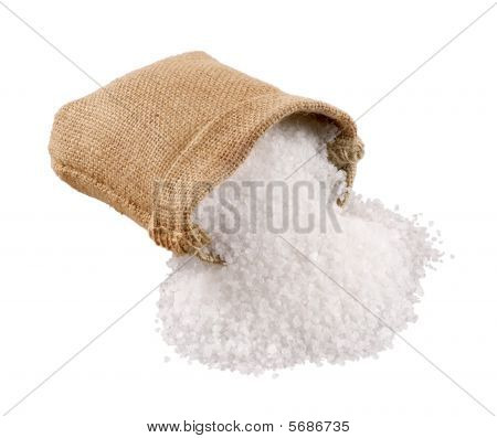 Sea Salt Coming Out Of A Burlap Sack