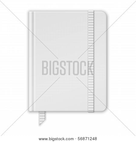 Blank White Notebook. Copybook Template With Band And Bookmark.