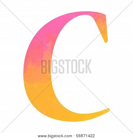 Watercolor alphabet letter, Vector illustration.