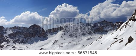 Panorama Of Snow Mountains In Spring