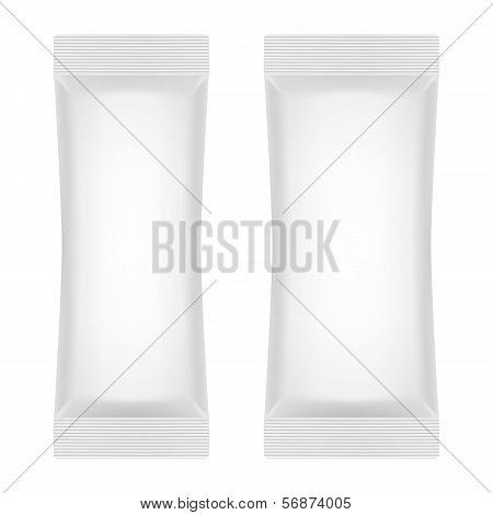 Blank White Foil Sachet For Sugar, Coffee, Salt, Pepper Or Sweet
