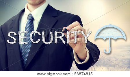 Security Umbrella With Businessman
